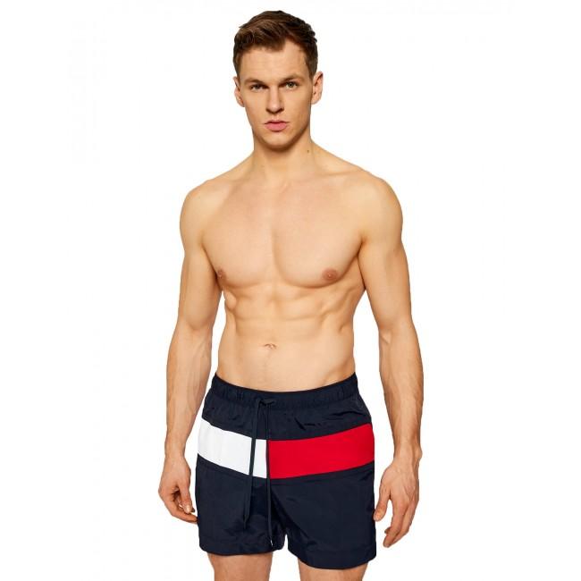 Flag Drawstring Mid Length Swim Shorts
