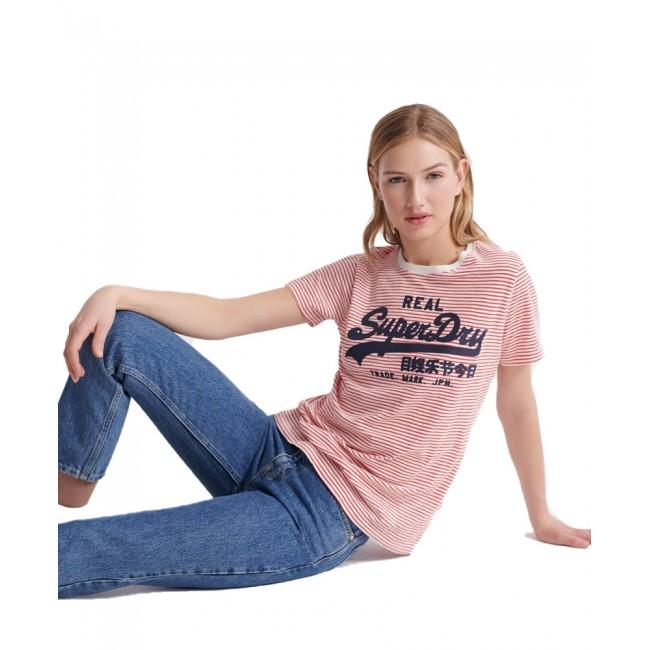 Γυναικεία  ΡΟΥΧΑ T-shirt SuperDry Ecru Slub Stripe