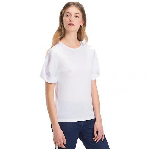 ΓΥΝΑΙΚΕΙΑ ΡΟΥΧΑ T-shirt     Tommy Hilfiger CLASSIC WHITE ΟΡΓΑΝΙΚΟ_ΡΕΓΙΟΝ/ΒΑΜΒΑΚΙ_67/33