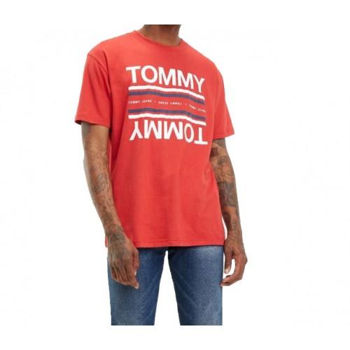 -11% Ανδρικό Μπλουζάκι T-shirt σε κόκκινο χρώμα. 100% Βαμβάκι της Tommy  Jeans 365f3eb75e7